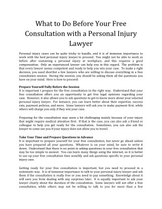 What to Do Before Your Free Consultation with a Personal Injury Lawyer