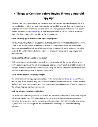 4 Things to Consider before Buying iPhone / Android Spy App