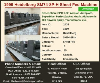 Buy Used 1999 SM74-8P-H Heidelberg Printing Press Machine