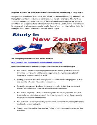 Why New Zealand Is Becoming The Best Decision For Understudies Hoping To Study Abroad
