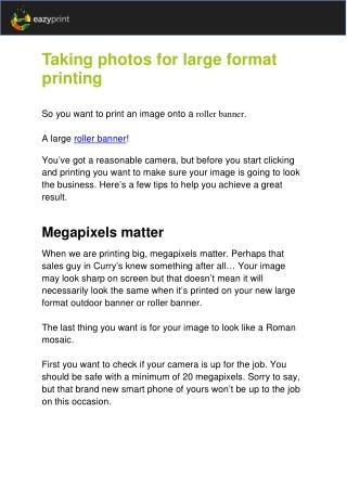 Taking Photos for Large Format Printing