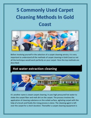5 Commonly Used Carpet Cleaning Methods In Gold Coast