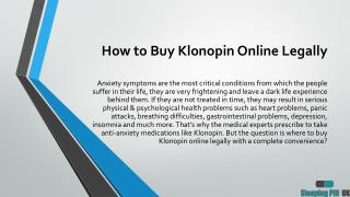How to Buy Klonopin Online Legally