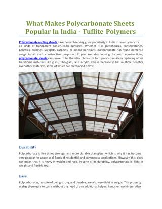 What Makes Polycarbonate Sheets Popular In India - Tuflite Polymers