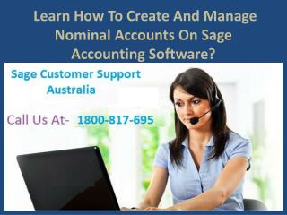 Learn How To Create And Manage Nominal Accounts On Sage Accounting Software?