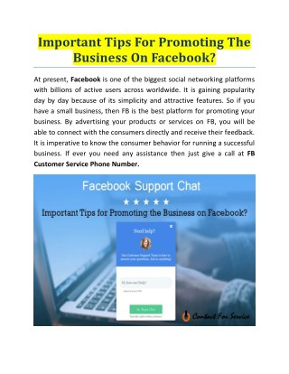 Important Tips For Promoting The Business On Facebook?