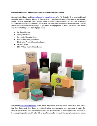 Custom Printed Boxes & Custom Packaging Manufacturer Papers Gallery
