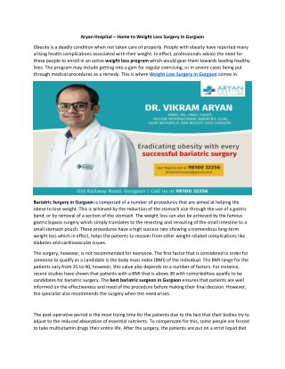 Reduce Weight with Weight Loss Surgery in Gurgaon at Aryan Hospital