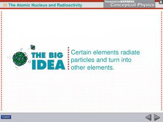 Certain elements radiate particles and turn into other elements.