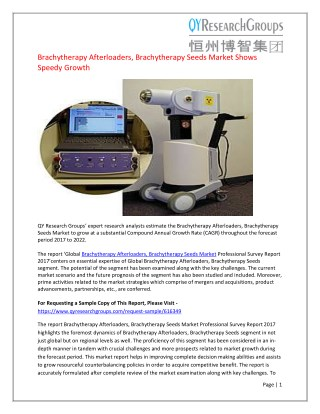 Brachytherapy Afterloaders, Brachytherapy Seeds Sales Market Report 2017