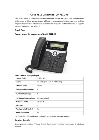 Cisco 7811 Datasheet - CP-7811-K9