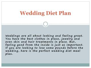 Get Free Diet Plan for Wedding | 98Fit
