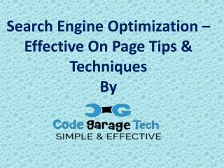 Great On Page SEO Techniques For Top Ranking in 2017