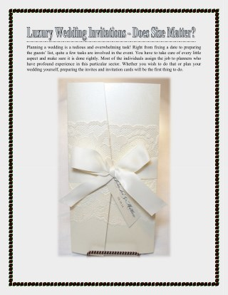 Luxury Wedding Invitations - Does Size Matter?