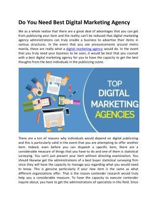 Do you need digital Marketing agency