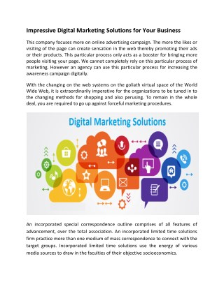Impressive Digital Marketing Solutions for Your Business