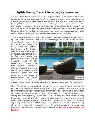 Stylish Flooring Tile and Stone Langley