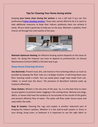 Tips for Cleaning Your Home during winter