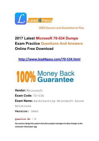 Latest lead4pass Microsoft 70-534 dumps exam questions free update