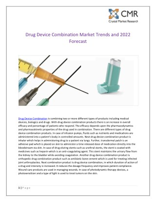 Drug Device Combination Market Trends and 2022 Forecast