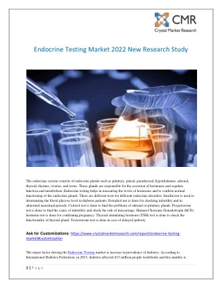 Endocrine Testing Market 2022 New Research Study