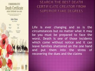 Search The Best Death Certificate Creator From Superior Fake Degrees