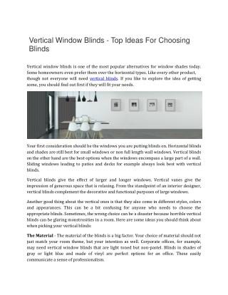 Vertical Window Blinds - Top Ideas For Choosing Blinds