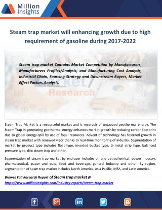 Steam trap market will enhancing growth due to high requirement of gasoline during 2017-2022