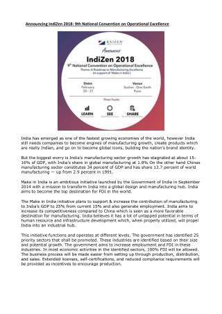 Announcing IndiZen 2018: 9th National Convention on Operational Excellence