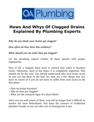 Hows And Whys Of Clogged Drains Explained By Plumbing Experts
