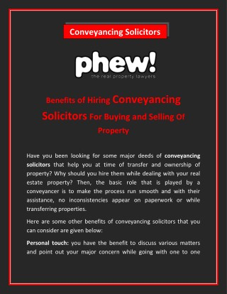 Benefits of Hiring Conveyancing Solicitors For Buying and Selling Of Property
