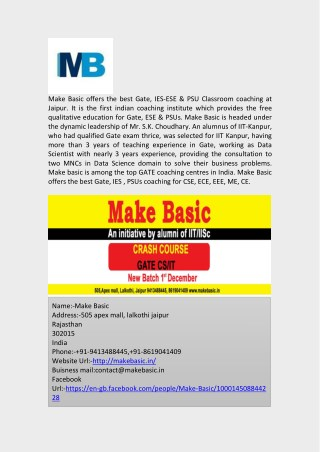 Gate Coaching Classes and Crash Course in Jaipur