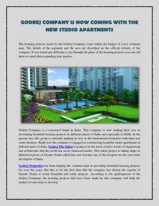 Godrej Company is now coming with the new studio apartments