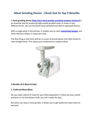 Meat Grinding Device - Check Out Its Top 3 Benefits