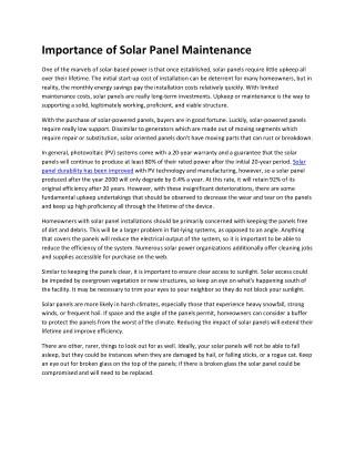 Importance of Solar Panel Maintenance