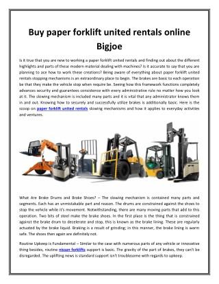Buy paper forklift united rentals online Bigjoe
