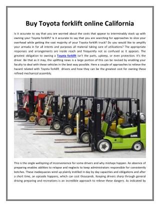 Buy Toyota forklift online California