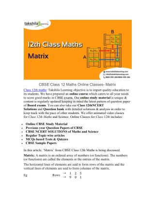 CBSE Class 12 Maths Online Classes and NCERT Solutions - Matrix