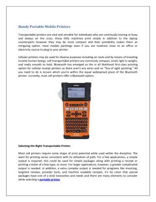 Handy Portable Mobile Printers