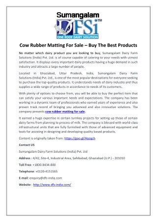Cow Rubber Matting For Sale – Buy The Best Products