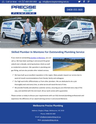 Skilled Plumber In Mentone For Outstanding Plumbing Service