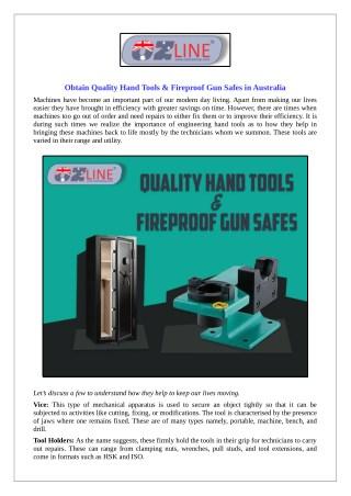 Obtain Quality Hand Tools & Fireproof Gun Safes in Australia