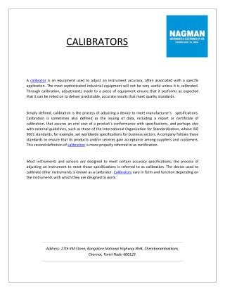 Manufacturers of Pressure Calibrators