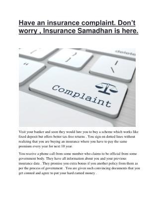 Insurance Claim Experts   Insurance Samadhan