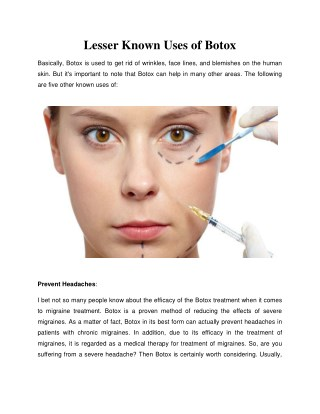 Lesser Known Uses of Botox