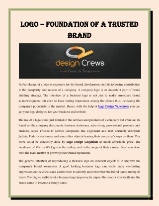 Logo – Foundation of a Trusted Brand