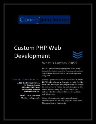 Hire Custom PHP Web developer   Concept Open Source