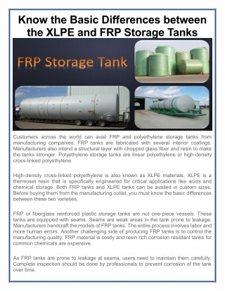 Know the Basic Differences between the XLPE and FRP Storage Tanks