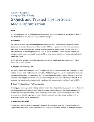 5 Quick and Trusted Tips for Social Media Optimization