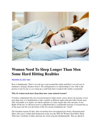 Women Need To Sleep Longer Than Men Some Hard Hitting Realities
